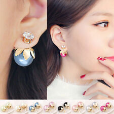 Screw Back (pierced) Round Stone Costume Earrings