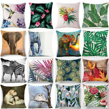 Floral Tropical Plant Animal Handmade Bed Car Pillow Case Waist Cushion Cover