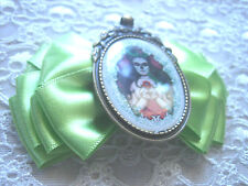CREATION SUGAR SKULL LADY  HAIR BOW ALLIGATOR CLIP ... ROCKABILLY / GOTH /