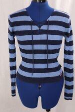 Navy Blue Striped Sweater Top Small Lace Up V Neck Knit Ribbed Stretch S VTG 90s
