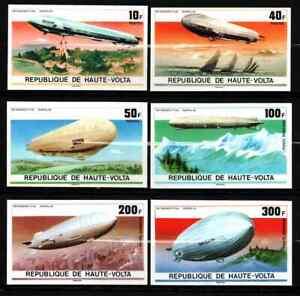 UPPER VOLTA 1976 - SET AIRSHIPS / ZEPPELIN IMPERF MNH