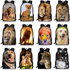 Cool Wolf lion Dog Boys Girls School Bag Women Backpack Shoulder Laptop Satchel