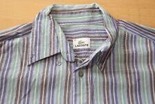 Q75 Lacoste Hemd - Größe 40 - gestreift grün blau braun weiß  - Herren Langarm