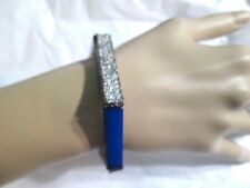 Blue And Textured Silver Tone Metal Hexagon Stretch Bracelet Trendy