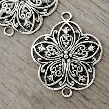 20pcs Antique Silver Links Connectors Flower DIY Jewelry Findings 38x31x3mm