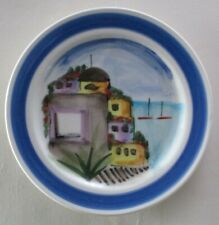 """Pretty Italian Plate, Houses By The Sea, 11"""" Dia. Hand Painted In Italy Vgc"""