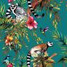 Holden Decor - Lemur Animal Rainforest Feature Wallpaper - Teal / Multi - 12402