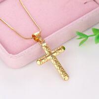 "Women's/Men's Cross Pendant Link 18k Yellow Gold Filled Necklace 18"" Chain"