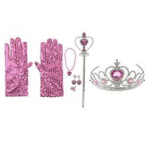 Kids Girls Princess Dress Up Fancy Crown Wand Gloves Costume Set Party Cosplay