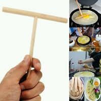 2X T Shape Crepe Maker Pancake Batter Wooden Spreader Stick Kitchen Tool #DJ8Z
