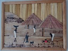 Vtg African Hut Village Scene Hand Made Picture Reed Straw Bark Leaves, Framed