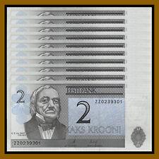 Estonia 2 Krooni x 100 Pcs Bundle, 2007 P-85b Replacement (ZZ) Unc