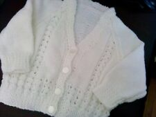 New fancy Hand Knitted  White baby Cardigan up to Approx 6 months