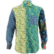 Camisas y polos de hombre de manga larga de color principal verde 100% algodón