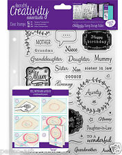 Docrafts Papermania FEMALE FAMILY A5 stamp 40pc set of + storage folder pocket