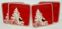 "222 Fifth Northwood Cottage Porcelain Christmas Red 8"" Salad Plates Set of Four"