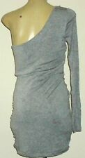 BETTINA LIANO 1ShoulderedRuchedGreyMarlMiniSz10NWoT