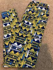 NWT LuLaRoe OS Leggings Multicolor Aztec Blue Yellow triangles Dot Geometric
