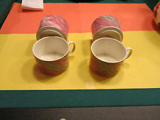 VILLEROY & BOCH china COLLAGE pattern 4 tea / coffee cups and creamer
