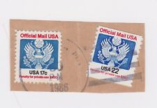 US Official Mail Stamps - 1986. Used Cut off Envelope.