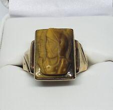 Vintage 10K Yellow Gold Roman Soldier Carved Tiger Eye Men's Ring Size 9