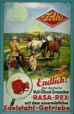 Blechschild Nostalgieschild Fella Rasa Rex Grasmäher Rasenmäher 20x30 cm