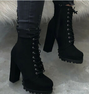 Womens Lace Up Ankle Boots High Block Heels Platform Punk Round Toe Casual Shoes