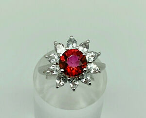 Gorgeous Modern Sterling Silver Lab Ruby & Cubic Zirconia Cluster Ring Size N