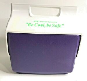 IGLOO AT&T Power Systems Be Cool Mini Mate Push Button Cooler Ice Chest Vtg 91