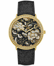 NWT GUESS Women's Black and Gold Tone Floral Crystal Leather Watch 43mm U0820L1