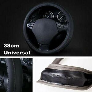 38cm Black Universal Soft Leather Steering Wheel Cover Anti-slip Car Accessory