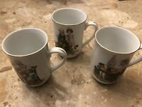 Vintage Norman Rockwell Coffee Cups Mugs Set of 3 Museum Collection 1982
