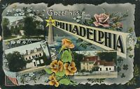 PHILADELPHIA PA - Three Scenes Greetings from Philadelphia - 1908