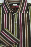 Ted Baker London Men's Brown Pink Green Woven Stripe Casual Shirt M Medium