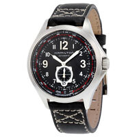 Hamilton Khaki Aviation Automatic Black Dial Black Leather Mens Watch H76655733