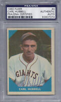 Carl Hubbell Signed 1960 Fleer - PSA DNA