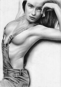 original painting А3 24ID-Q art samovar oil dry brush female nude Realism