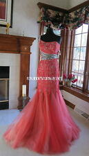 Panoply 44236 Red Nude Stunning Pageant Gala Gown Dress sz 6