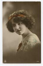 c 1912 Woman Women PRETTY YOUNG LADY Teenage Girl Beauty photo postcard