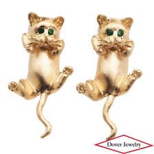 Estate Emerald 14K Yellow Gold Cat Dangle Earrings 6.1 Grams NR