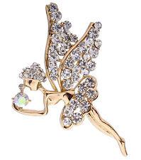 Cute AB Crystal Rhinestone 18k Gold Plated Angel Dancing Fashion Pin Brooch