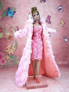 Handmade Pink Flower Dress Outfit Gown Coat Silkstone Barbie Fashion Royalty FR