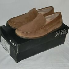 Men's ECCO Classic Brown Moccasin Suede Leather Shoes. EU 43. UK 9 New in Box