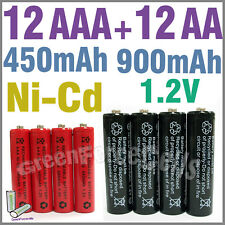 12 AA 12 AAA 900mAh 450mAh Ni-Cad Ni-Cd rechargeable battery BR1