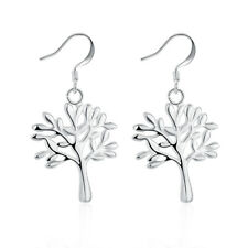 Sterling Silver Plated Earrings Tree Of Life Drop Dangle Fish Hook Clasp L707