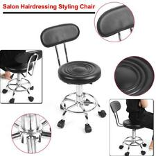 Salon Stool Hairdressing Chair Adjustable Height w/ Back Rest Rolling Swivel