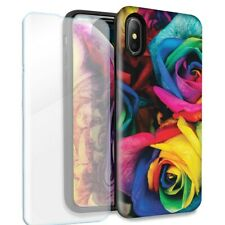 Colorful Roses Double Layer Case Glass Screen For Apple iPhone X/XS