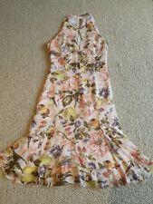 Karen Millen Pink Silk Floral Fruit Fit & Flare Frill Special Occ Dress.  Size 8