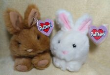 "Swibco Puffkins ""LUCKY"" (White) & ""TIBBS"" (Brown) Bunny Rabbits 2pc.Set - MWMT!"