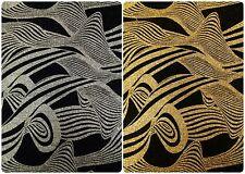 Shiny Glitter Geometric Waves & Lurex Dots on Black Stretch Nylon Spandex Fabric